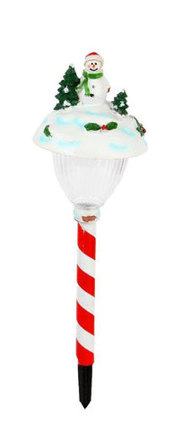 Lightahead Solar Powered LED Stake Lights - Christmas Snowman Stake Light Outdoor Garden Path Light Theme Candy Stick