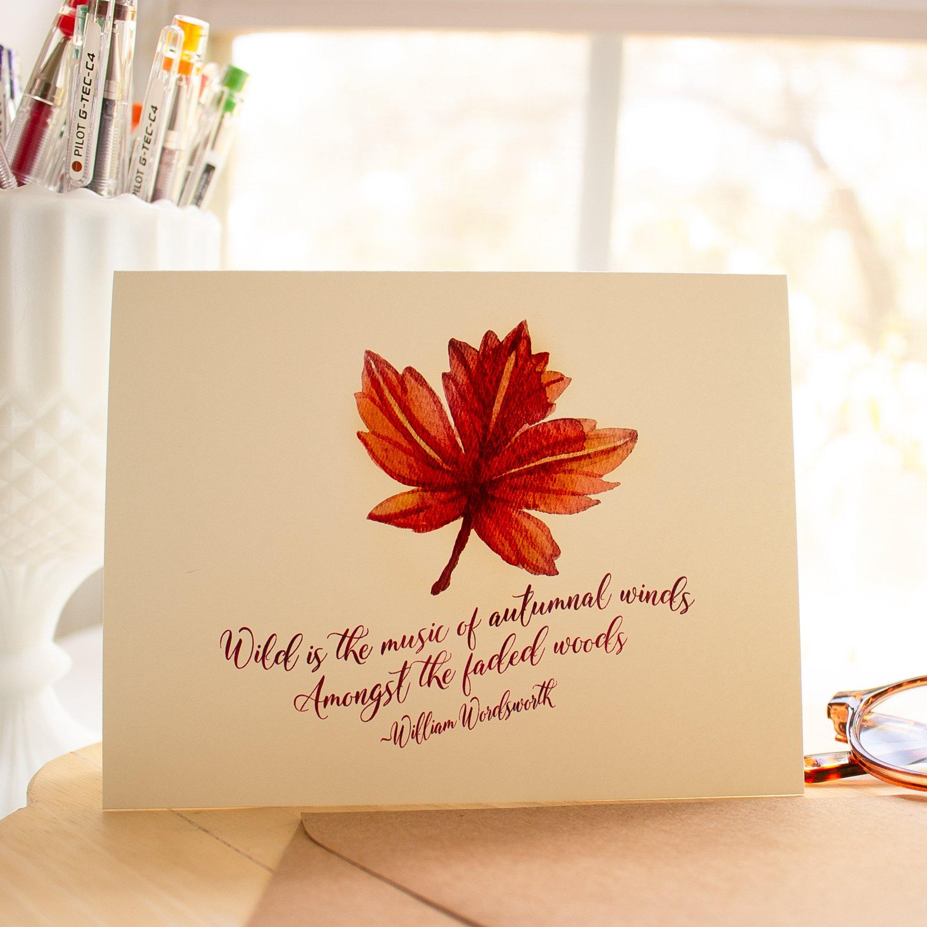 Autumn Leaf Note Card Set Autumn Note Cards Sunshine and Ravioli