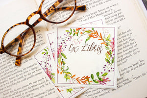 autumn wreath bookplates - set of 10 bookplates Sunshine and Ravioli