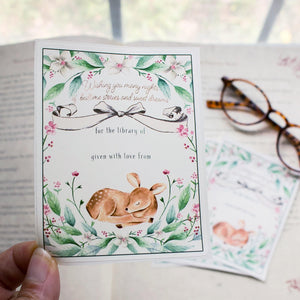 Baby Shower Bookplates - deer - set of 10 bookplates Sunshine and Ravioli