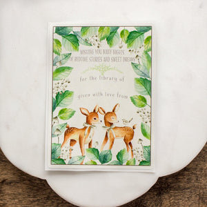 Baby Shower Bookplates - two deer - gender neutral - set of 10 bookplates Sunshine and Ravioli