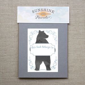 blue bear bookplate stickers - set of 10 bookplates Sunshine and Ravioli