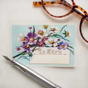 Blue Daisies Ex Libris Bookplates - set of 10 bookplates Sunshine and Ravioli