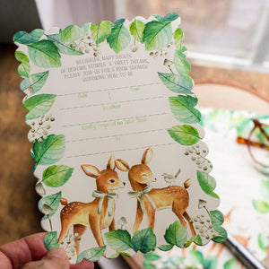 Book Themed Baby Shower Invitations - Baby Deer with Neutral Accents Baby Shower Invitations Sunshine and Ravioli