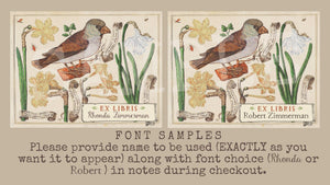 botanical bird and daffodils bookplates - set of 10 bookplates Sunshine and Ravioli