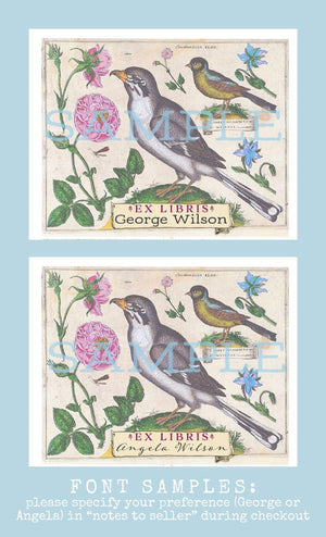 botanical bird and flowers bookplates - set of 10 bookplates Sunshine and Ravioli