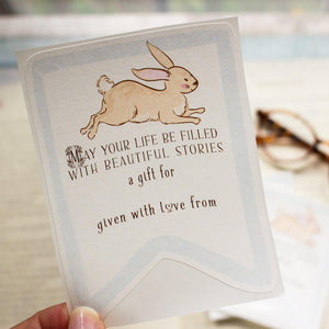 Bunny Baby Shower Bookplates - Blue - set of 10 bookplates Sunshine and Ravioli