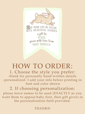 Bunny Baby Shower Bookplates - Gender Neutral Green - set of 10 bookplates Sunshine and Ravioli personalized