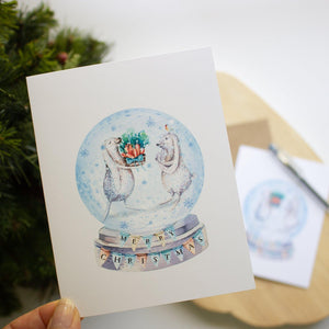Christmas Greeting Card - Bunny Snowglobe Christmas cards Sunshine and Ravioli