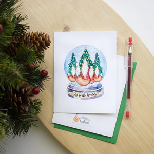 Christmas Greeting Card - Fox Snowglobe Christmas cards Sunshine and Ravioli