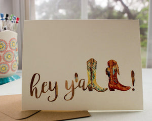 Cowgirl Boots Hey Y'all greeting Card occasion cards Sunshine and Ravioli