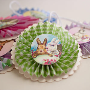 Easter Bunny Ornaments, Paper Rosettes for Easter Tree, Set of Five Rosette Ornaments Sunshine and Ravioli