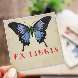 Ex Libris bookplate stickers - blue butterfly - set of 10 bookplates Sunshine and Ravioli