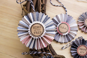 Fourth of July rosette ornaments - Patriotic Decor Rosette Ornaments Sunshine and Ravioli