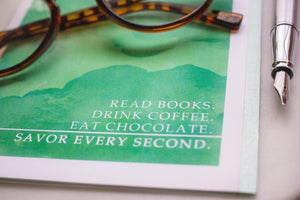 Greeting Card for readers, coffee drinkers, chocolate lovers occasion cards Sunshine and Ravioli