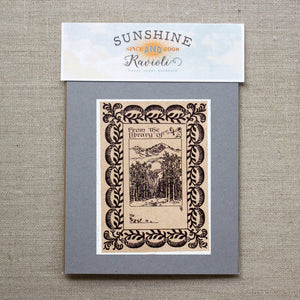 mountain forest bookplate stickers - set of 10 bookplates Sunshine and Ravioli