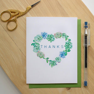 Succulent Wreath Thank You Card occasion cards Sunshine and Ravioli