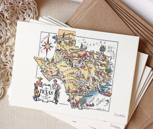 Texas map greeting card Texas stationery Sunshine and Ravioli