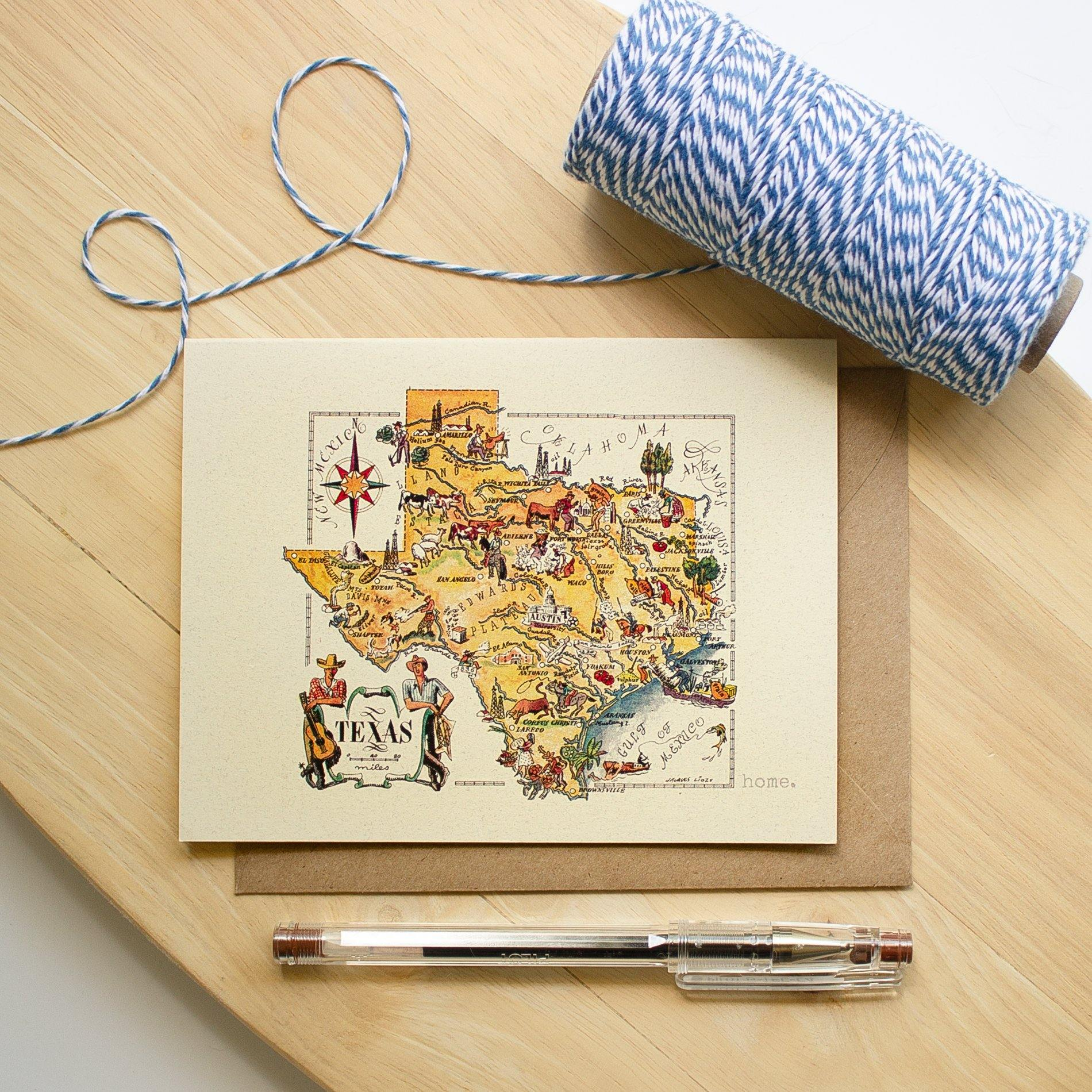 Vintage Texas Map Note Card occasion cards Sunshine and Ravioli