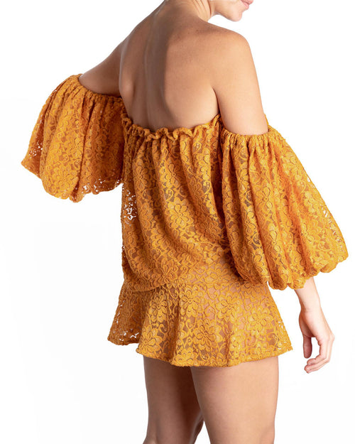 Antigua Nadia Off Top Mustard Lace