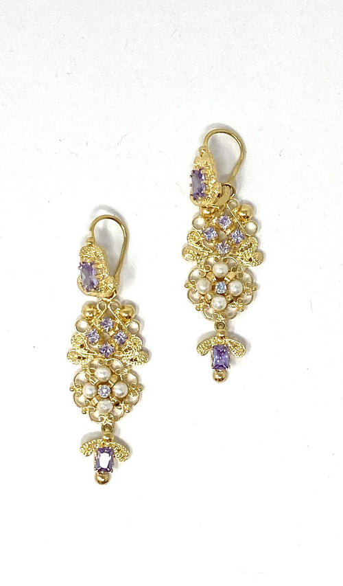 Antigua Earrings Perlas Lila