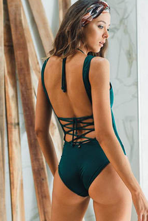 Amal One Piece Swimsuit Dark Green