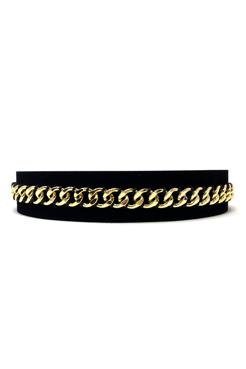 Shop Madda Belt Black Velvet and Gold Chain