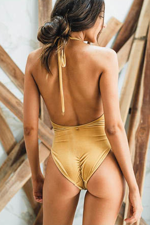 Betty One Piece Mustard Velvet