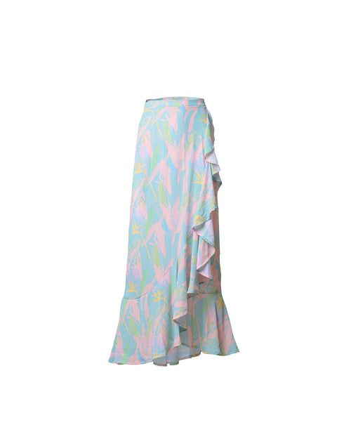 Antigua Skirt Maxi Lola Aqua Flowers