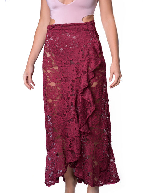 Antigua Skirt Maxi Lola Burgundy Lace