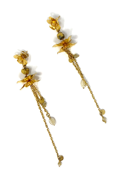 DosA2 Flowers Earrings Gold