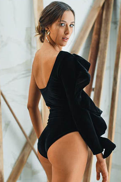 Elena Ruffle One Piece Swimsuit Black Velvet