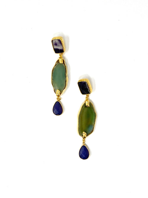 DosA2 Geodas Earrings Green-Purple / N