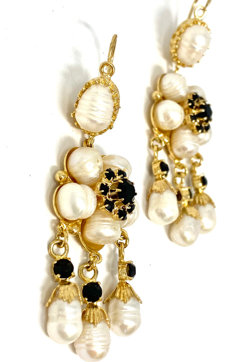 Antigua Earrings Filigram Pearls Black