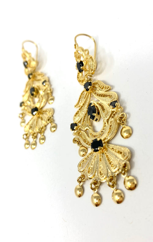 Antigua Earrings Filigram Gold Black