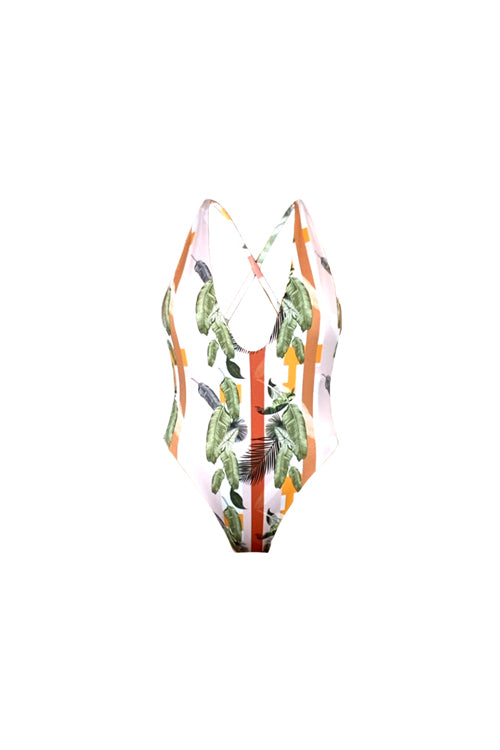 Isabella One Piece Swimsuit Palms Stripes