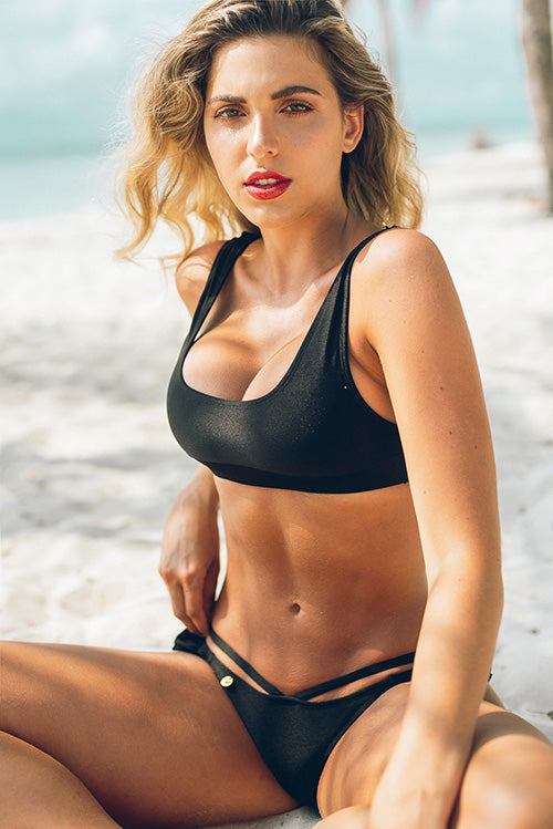 Believe in You Bikini Top Black