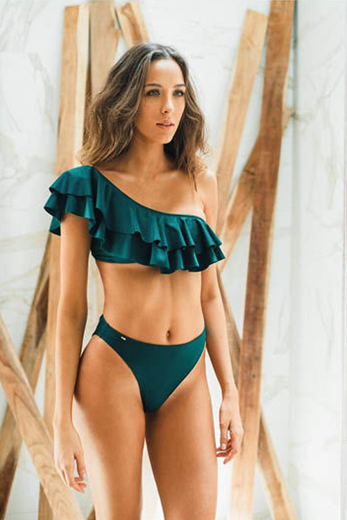 Olivia Bikini HW Bottom Dark Green