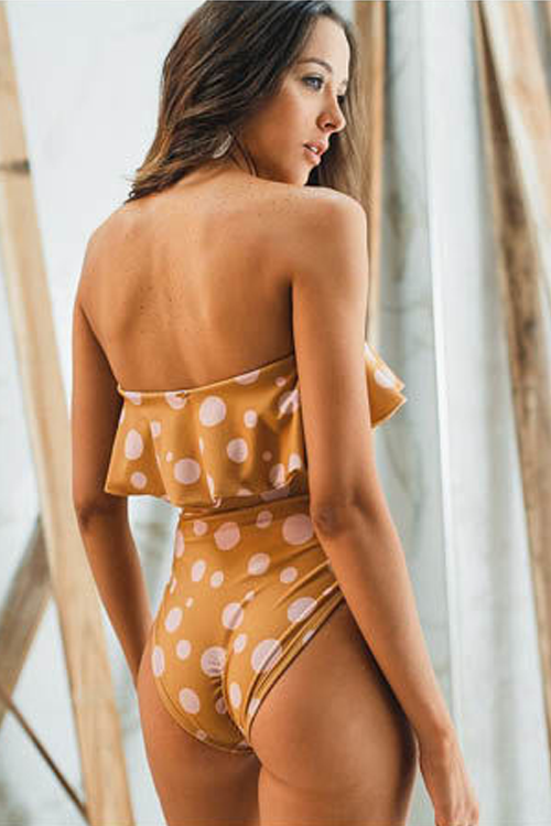 Shanna Ruffle One Piece Swimsuit Mustard Dots