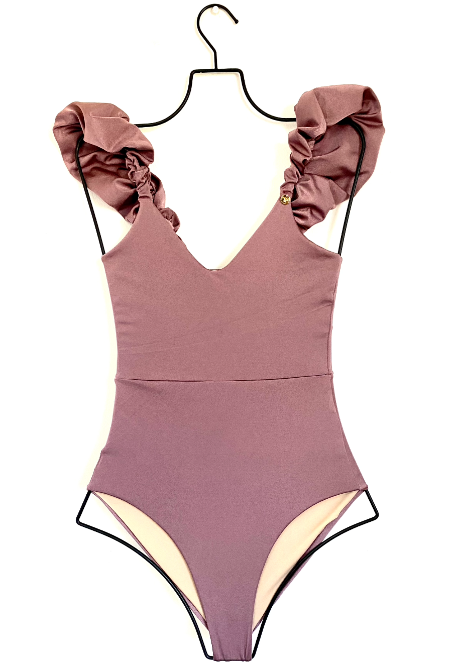 Paulina Puffy One Piece Swimsuit in Pale Purple