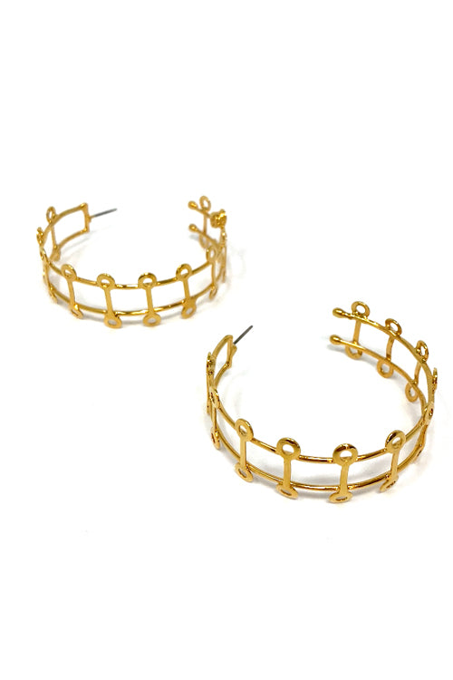 VG Earrings Gold Hoops Doble Circulos