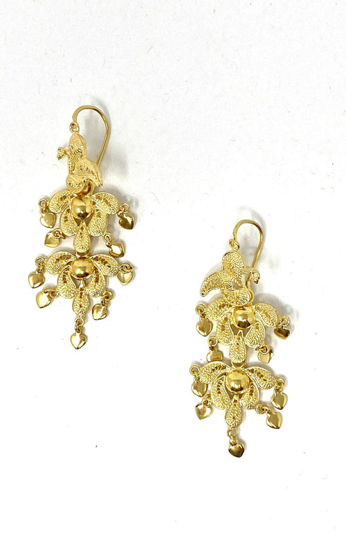Antigua Earrings Filigram Gold Mini Hearts