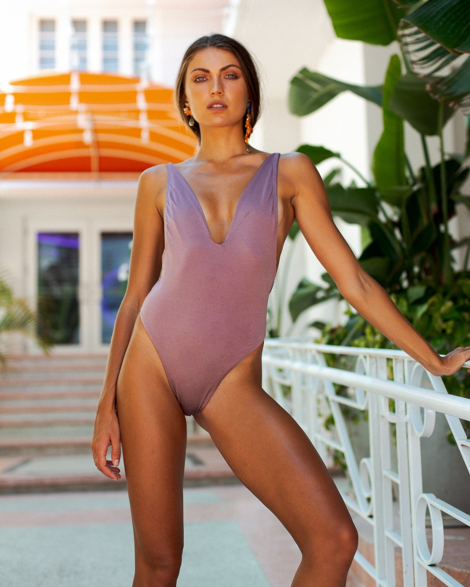 Isabella One Piece Swimsuit Pale Purple