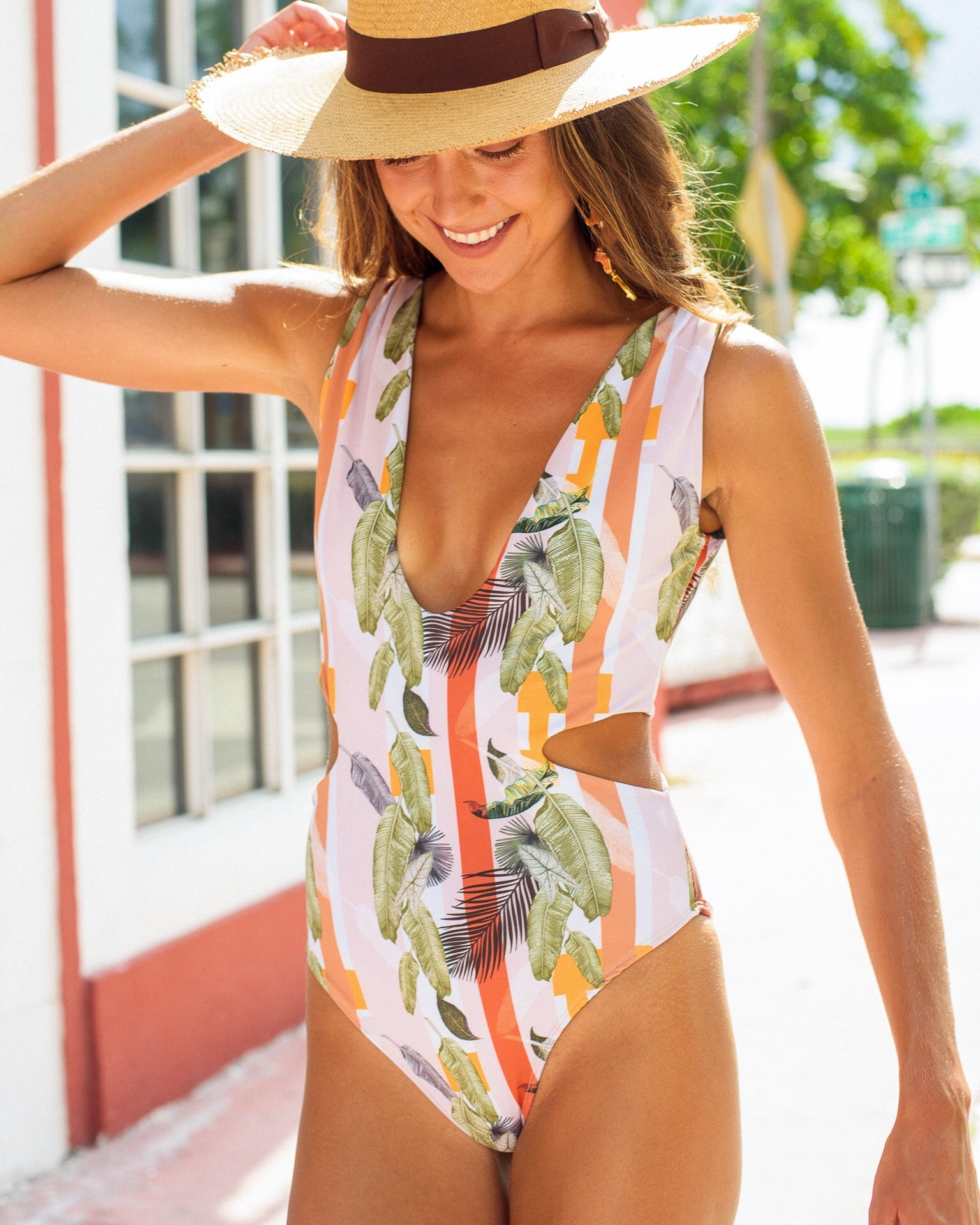 Maria One Piece Swimsuit Palms Stripes