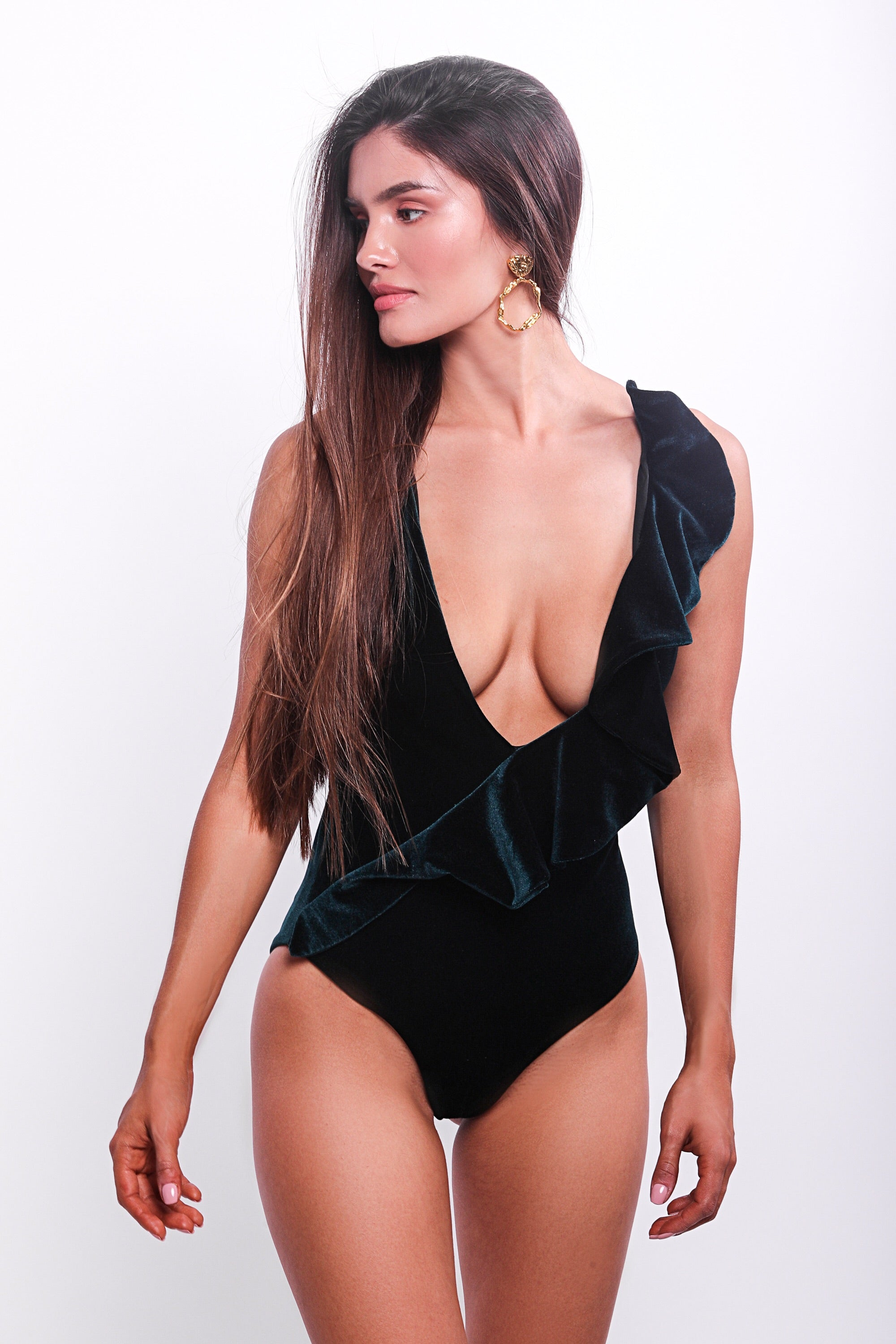 Isabella Ruffle One Piece Swimsuit Dark Green Velvet