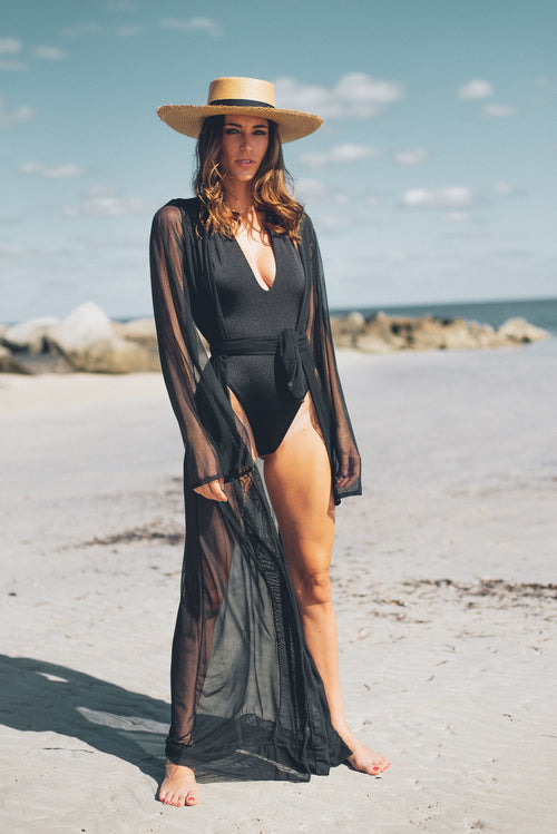 Antigua Alondra Long Robe Black Mesh