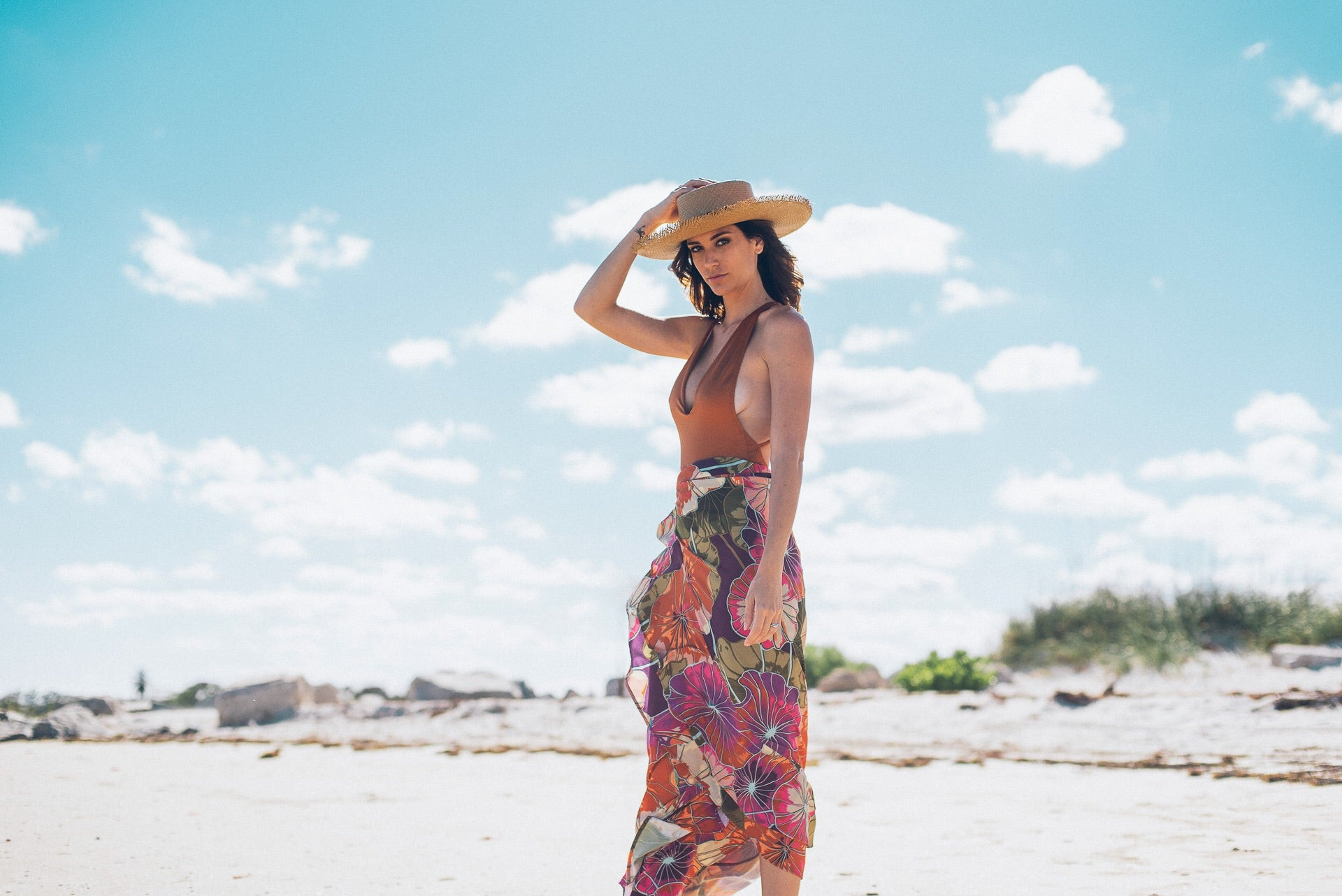 Antigua Long Wrap Skirt Flower
