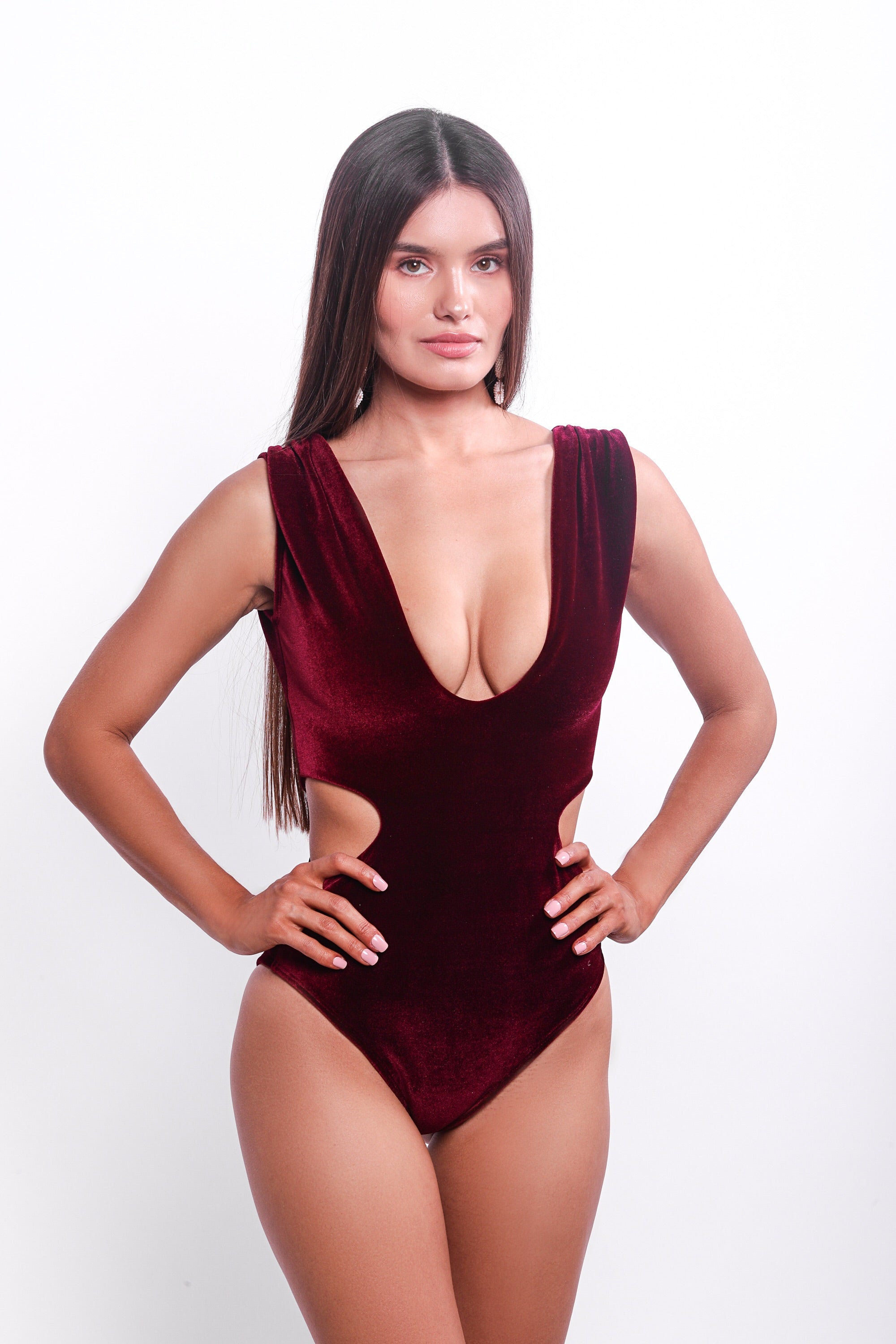 Maria One Piece Swimsuit Burgundy Velvet