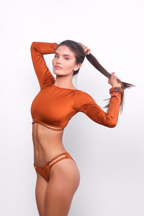 Hanbar LS Bikini Top Burned Orange
