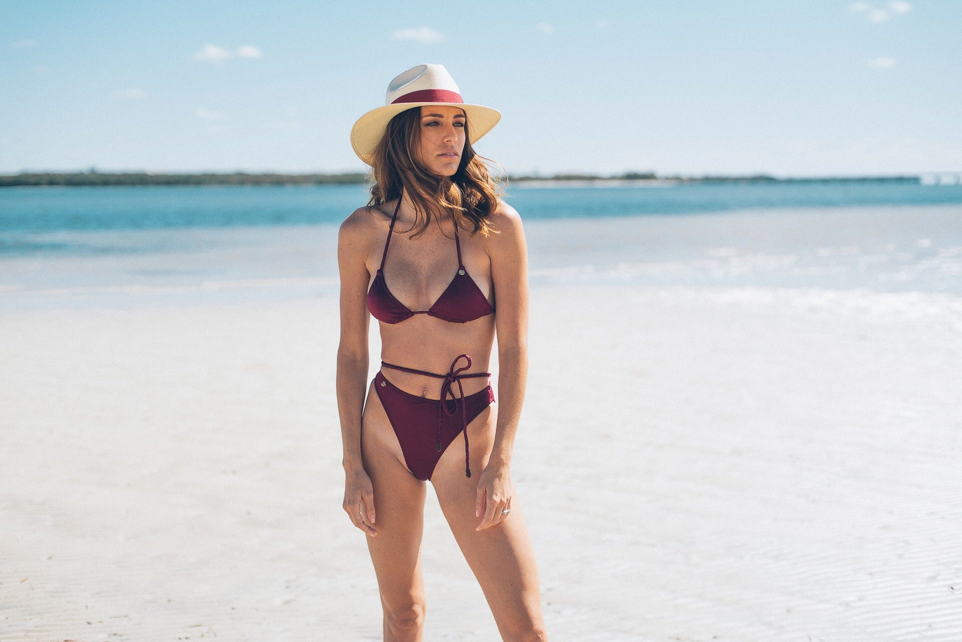 Rose Up Bikini Bottom Burgundy